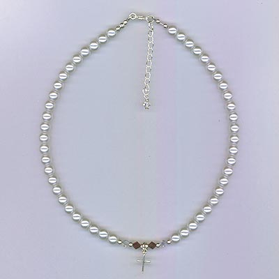 White Pearl Necklace with Cross