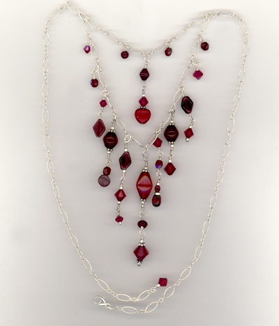 Garnet Sterling Cascade Necklace