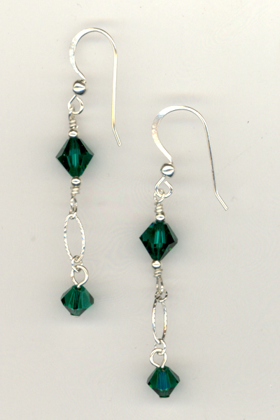 Emerald Evening Crystal Earrings