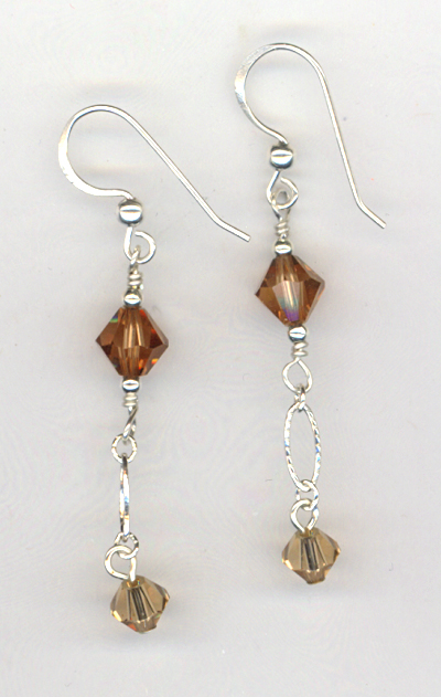 Light Smokey Topaz Evening Crystal Earrings