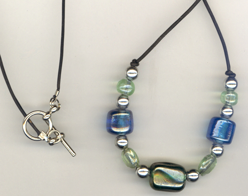 Blue & Green Art Glass Rubber necklace