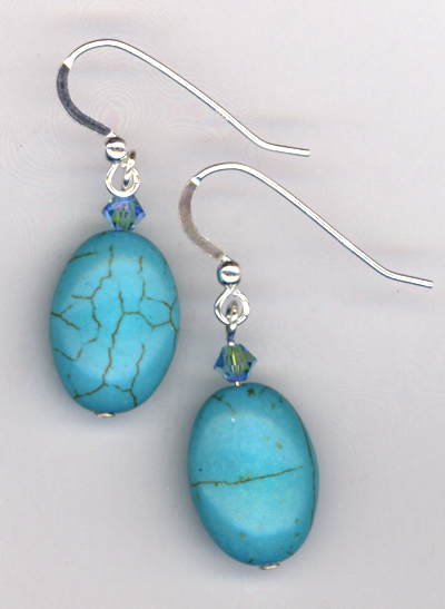 turquoise crystal oval earring