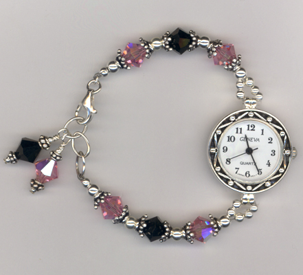LeAnne's Pink Black Crystal Beaded Watch