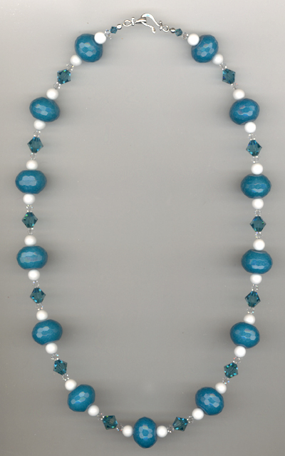 Aqua & White Summer Beaded Gemstone Necklace