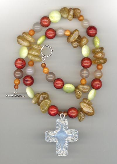 Summer Salsa Large Cross Gemstone Necklace