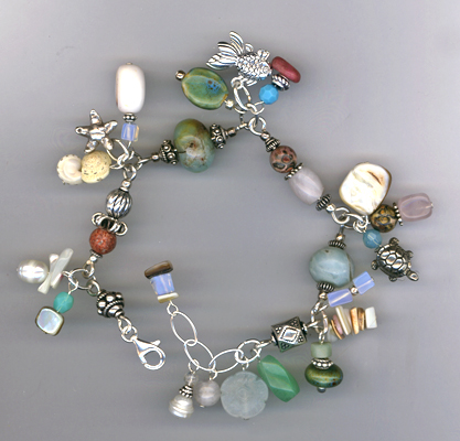 By The Seashore ~ Gemstone Sterling Silver Charm Bracelet
