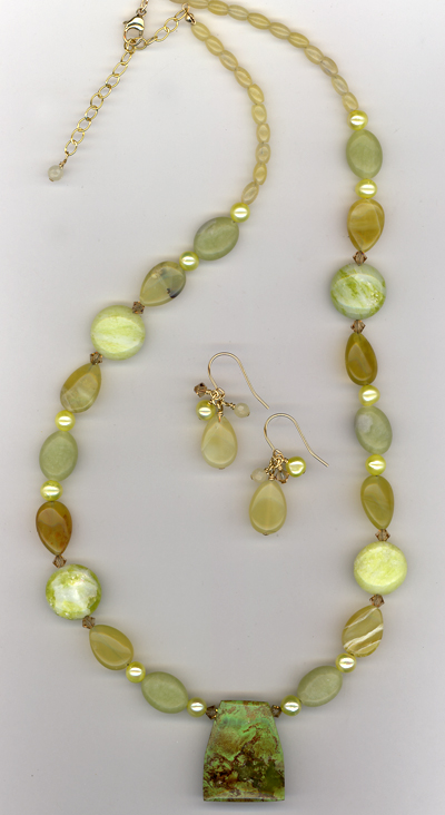 Green With Envy ~Turquoise Gold Necklace/Earring Set