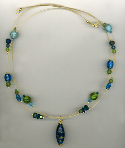 Triple Delight ~ Green/Blue Lampwork Layered Necklace