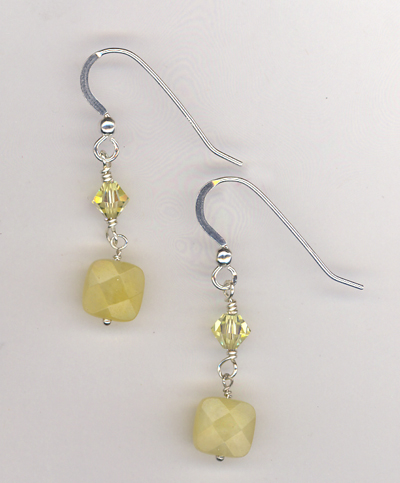 Lemon Honey Jade Crystal Earrings