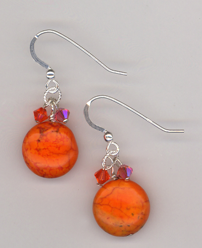 Orange Slice 2 ~ Turquoise Earrings