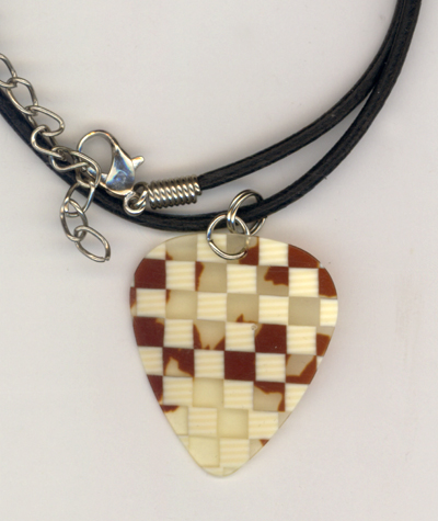 Brown Checkered Retro Guitar Pick Leather Necklace