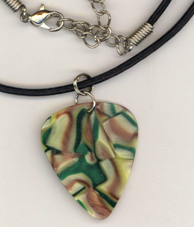 Caramel Apple Guitar Pick Leather Necklace