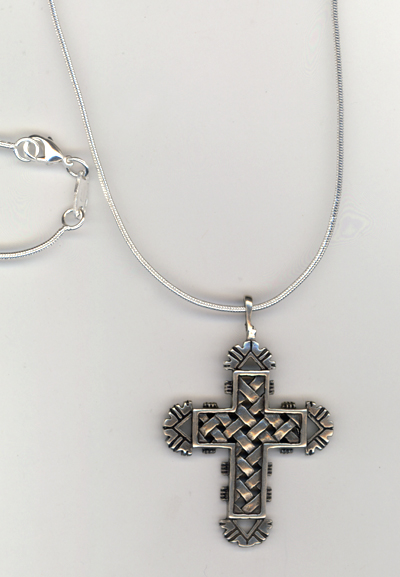 Sterling Silver Woven Cross Necklace