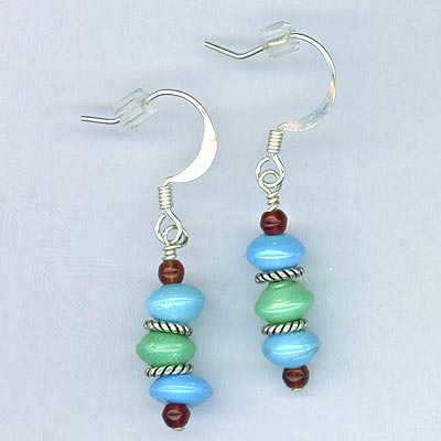 Turquiose & Garnet stack earrings