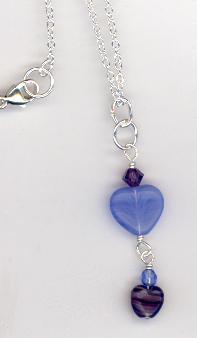 Tiny Blue Heart Purple Crystal chain necklace