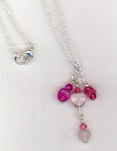 Pretty Pink Rose Hearts Charm Necklace