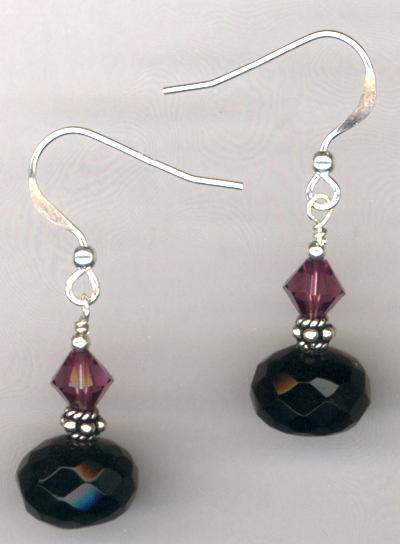 Black Amethyst Crystal Earrings