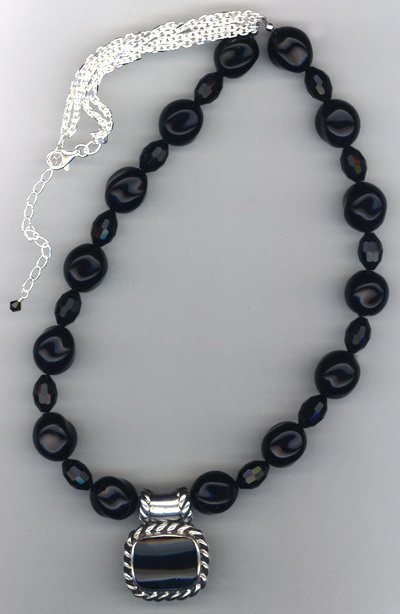Midnight Black Pendant Necklace