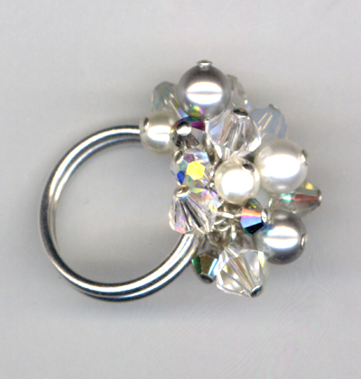 Shades of White Cha-cha-crystal ring