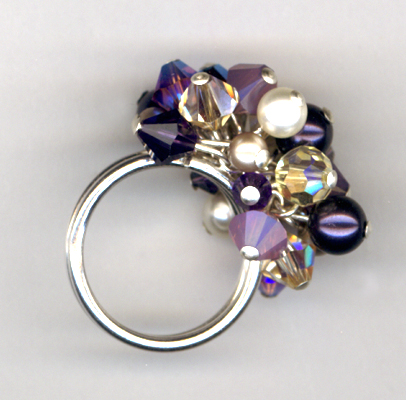 Purple Velvet Champagne Cluster Ring
