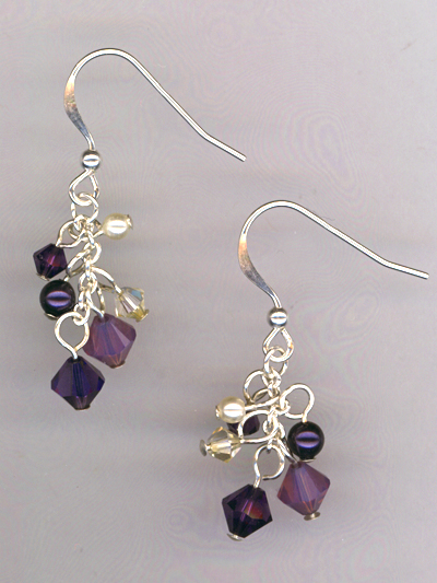 Purple Velvet Champagne Cascade Earrings