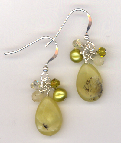 Lemon and Lime Teardrop Jade Earrings