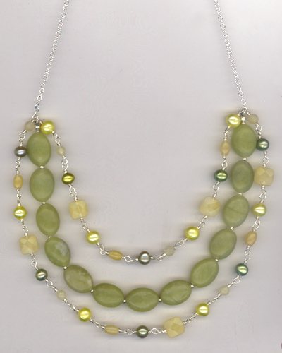 Lemonade Pearl Jade Triple Layered Necklace