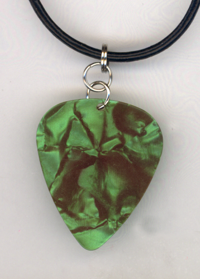 Green Pearl Black Leather Guitar Pick Necklace