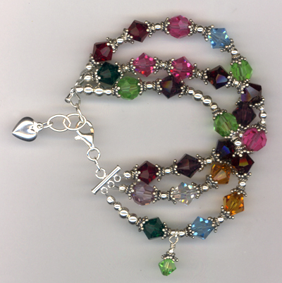 Grandmother's Birthstone Crystal Beaded Custom Bracelet
