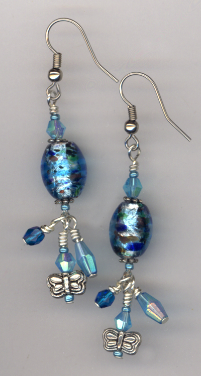 Beat The Bluese ~ Aqua Lampwork Earrings