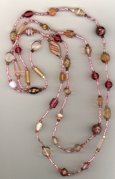 Super Long Pink MIx Beaded Necklace
