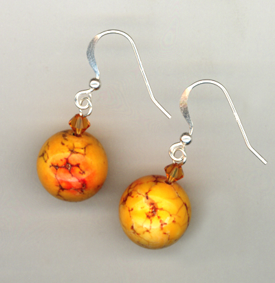Orange You Glad ~ Turquoise Crystal Earrings