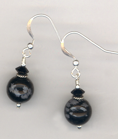 Black Obsidian Gemstone Crystal Earrings