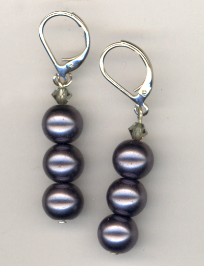Black Gray Pearl Crystal Stacked Earrings