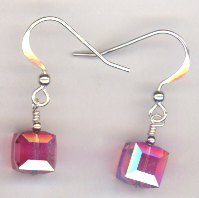 Pink Rose ~ Crystal Cube Earrings