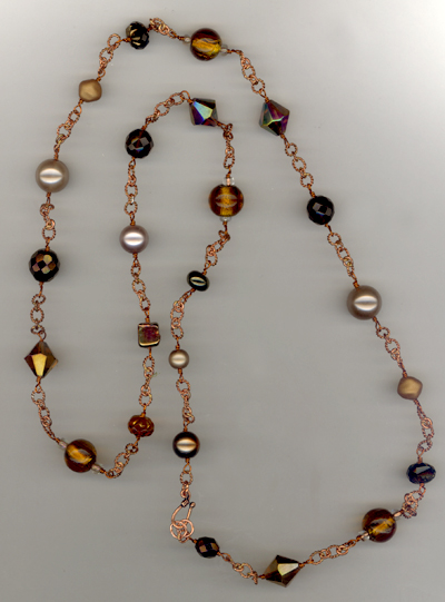 Golden Cooper ~ Beaded Link Necklace