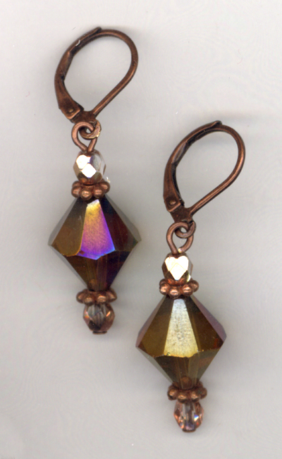 Topaz Crystal Copper Earrings