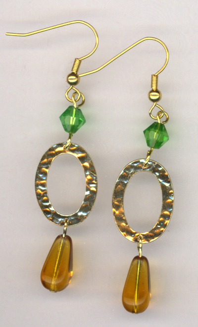 Green Amber Gold Hammered Link Earrings