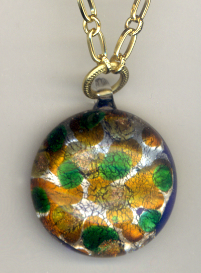 Art Glass Pendant ~ Green Amber Gold Chain Necklace