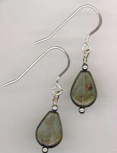 Mossy Meadows ~ Sterling Teardrop Earrings