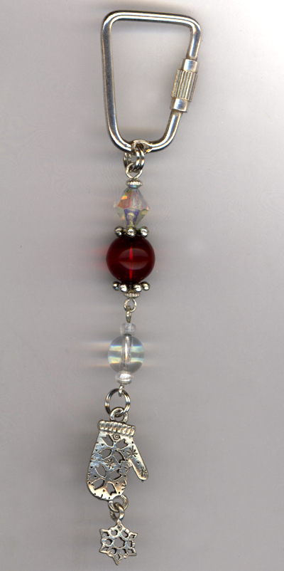 Don't Forget The Mittens ~ Beaded Charm Key Chain