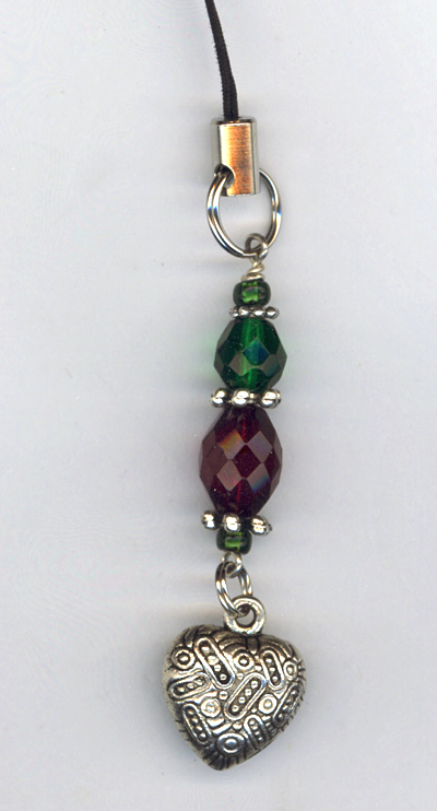Pewter Heart Red Green Phone Charm/Key Chain