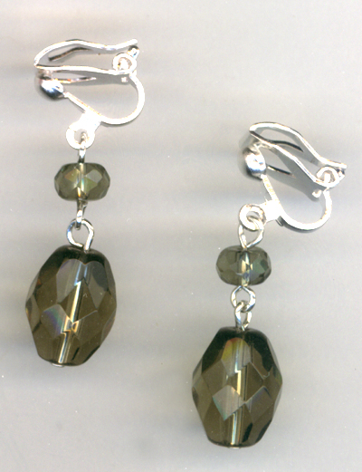 Smokey Mountain Crystal Clip-on Earrings