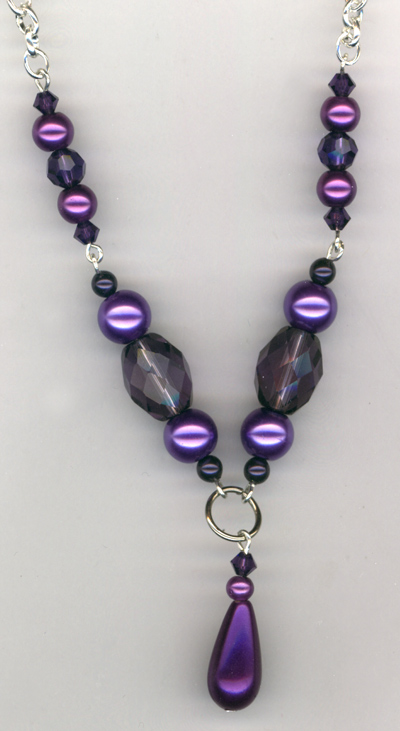Purple pearl vintage crystal chain necklace