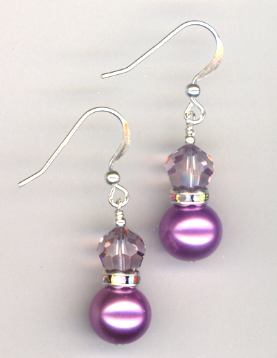 Light Amethyst Swarovski Crystal Pearl Earrings