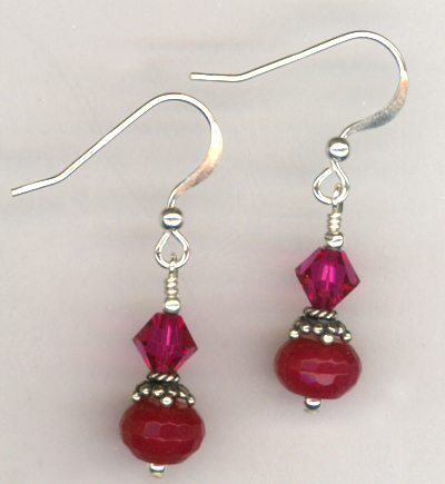 Revel In The Love ~ Fuchsia Crystal Jade Earrings
