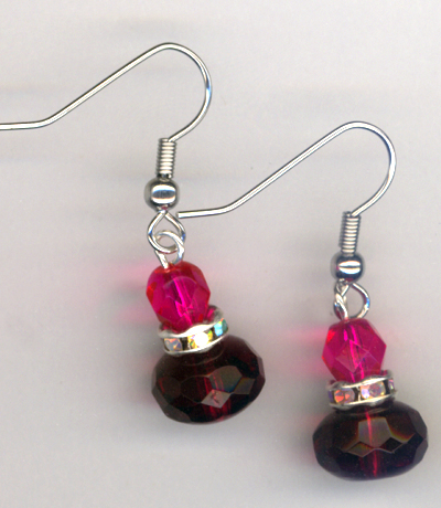 Fuchsia Pink Luxury Stacked Crystal SP earrings