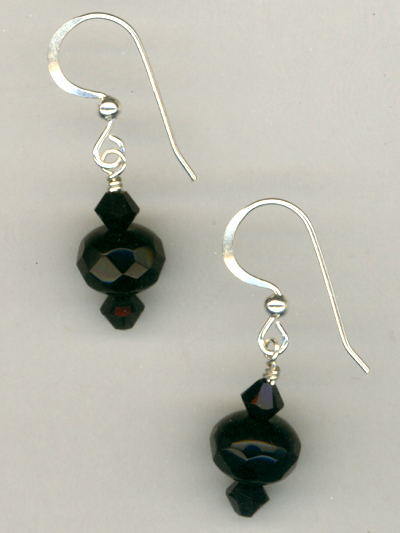 Jet Black Crystal Short Earrings