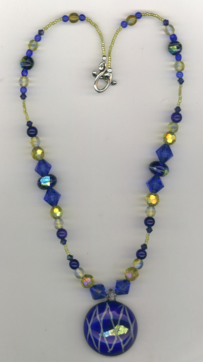Sapphire Gold Art Glass Beaded Necklace