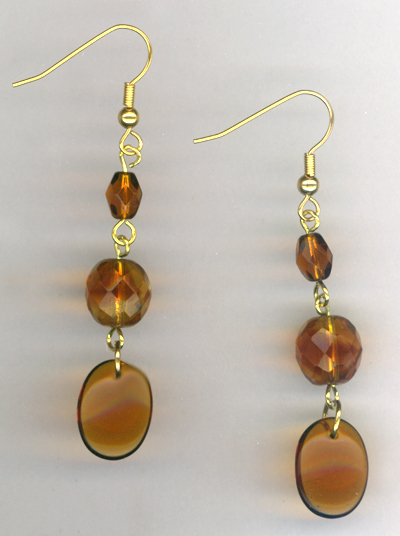 Topaz Triple Delight 2 ~ Crystal Gold Earrings